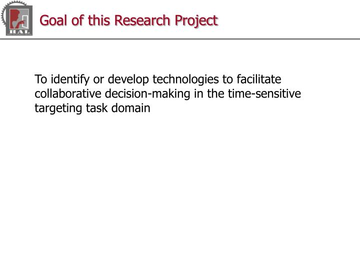Goal of this Research Project