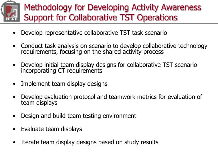 Methodology for Developing Activity Awareness Support for Collaborative TST Operations