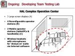 ongoing developing team testing lab1