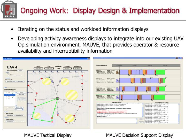 Ongoing Work:  Display Design & Implementation