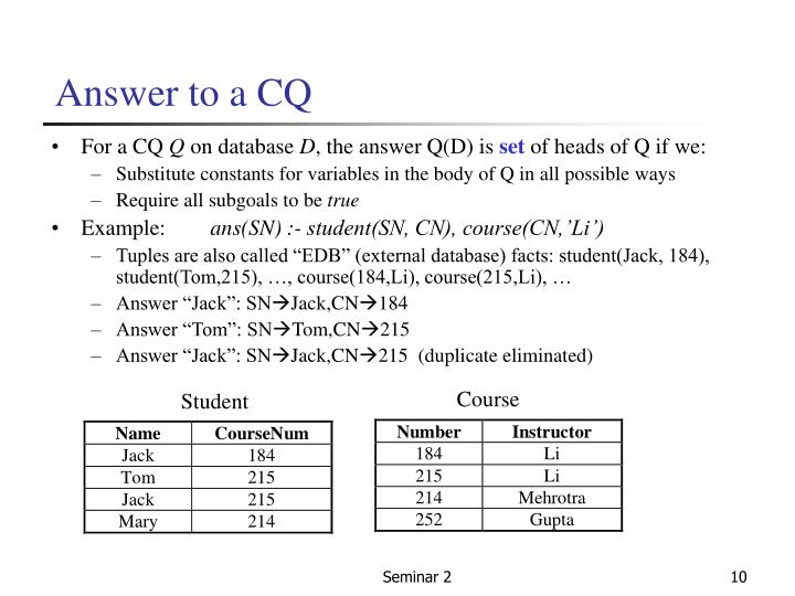 Answer to a CQ