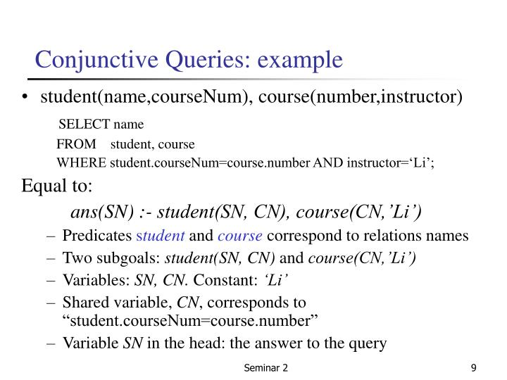 Conjunctive Queries: example