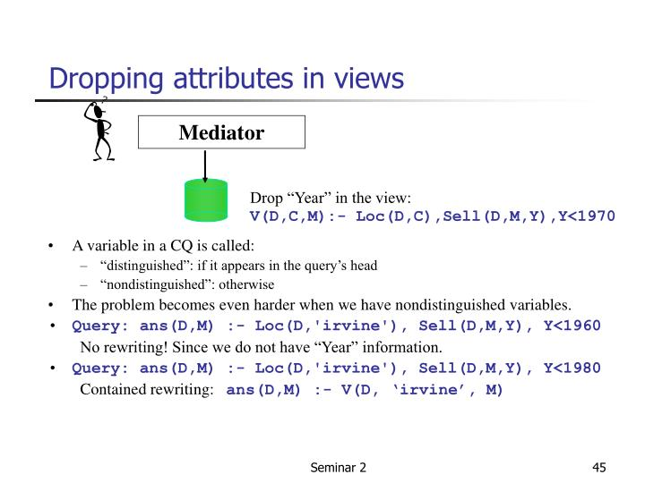 Dropping attributes in views