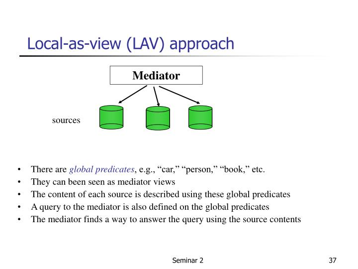 Local-as-view (LAV) approach