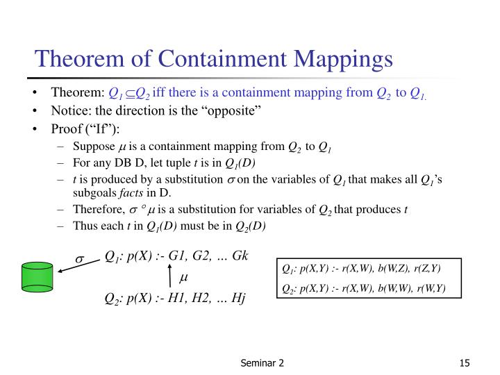 Theorem of Containment Mappings