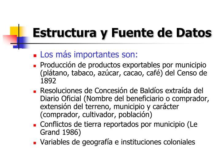 Estructura y Fuente de Datos