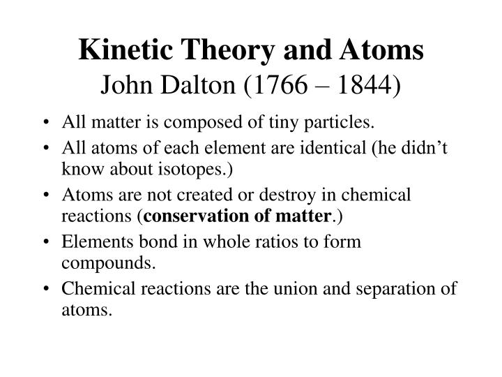 Kinetic Theory and Atoms