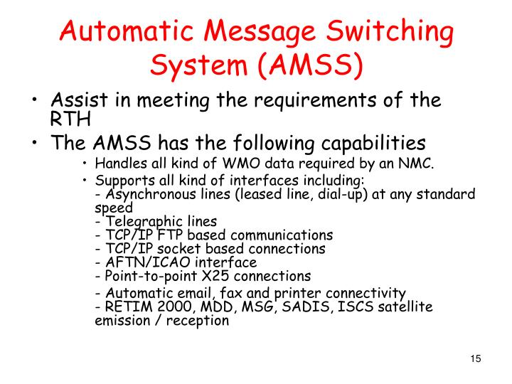 Automatic Message Switching System (AMSS)