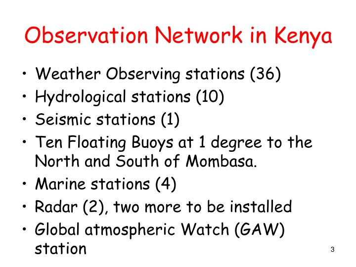 Observation Network in Kenya