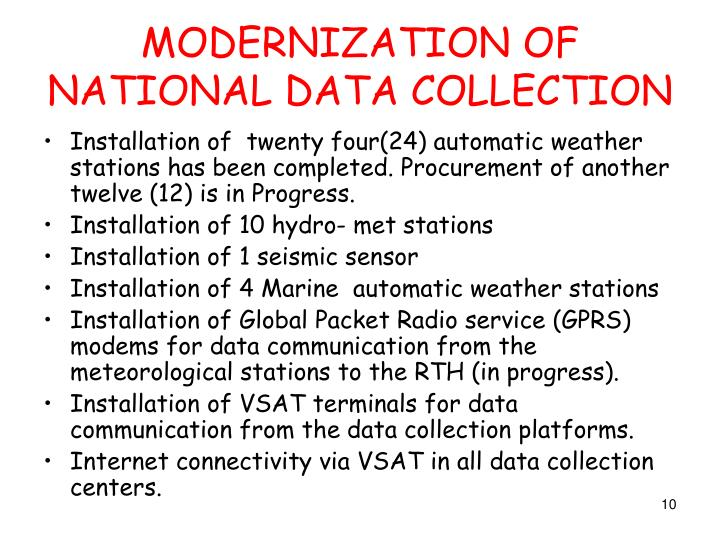 MODERNIZATION OF NATIONAL DATA COLLECTION