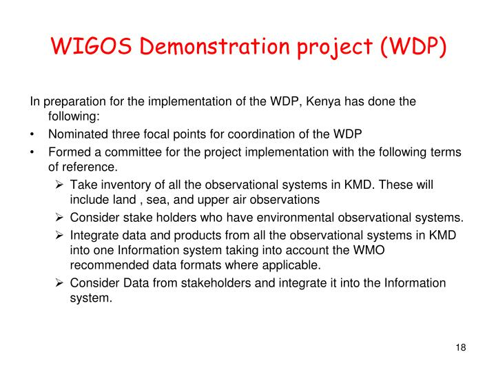WIGOS Demonstration project (WDP)