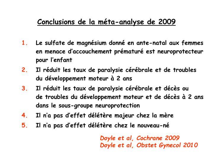 Conclusions de la méta-analyse de 2009
