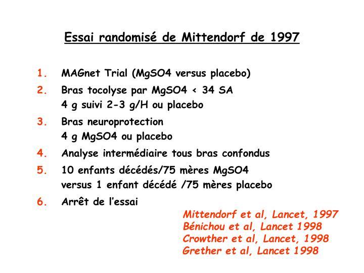Essai randomisé de Mittendorf de 1997