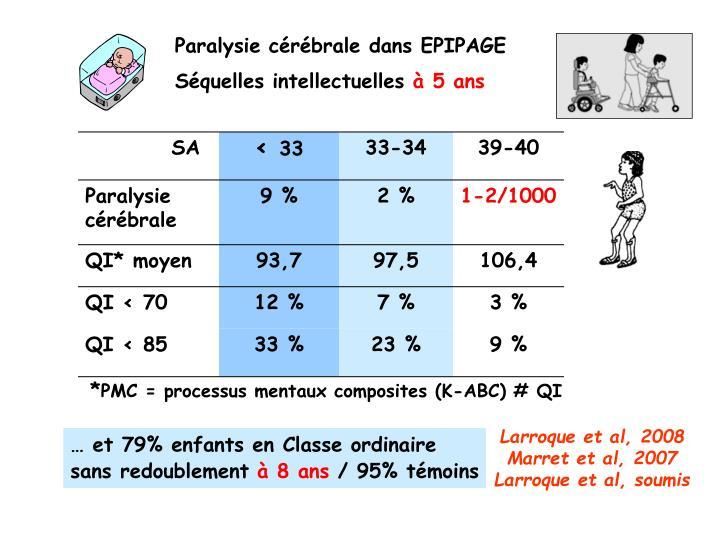 Paralysie cérébrale dans EPIPAGE
