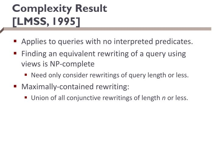 Complexity Result