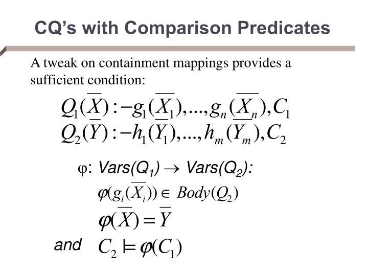 CQ's with Comparison Predicates