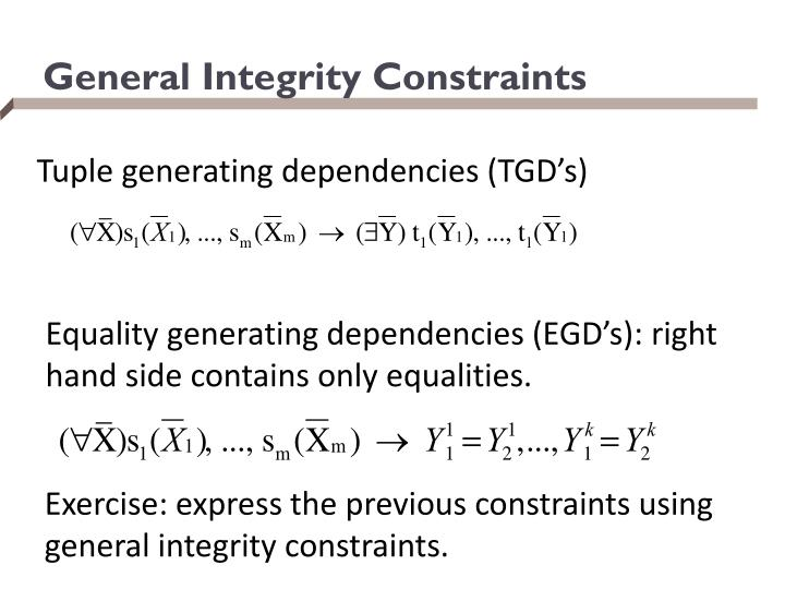 General Integrity Constraints