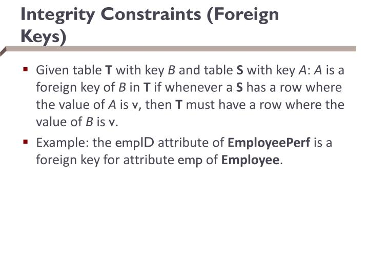 Integrity Constraints (Foreign Keys)