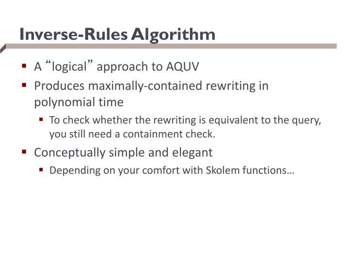 Inverse-Rules Algorithm