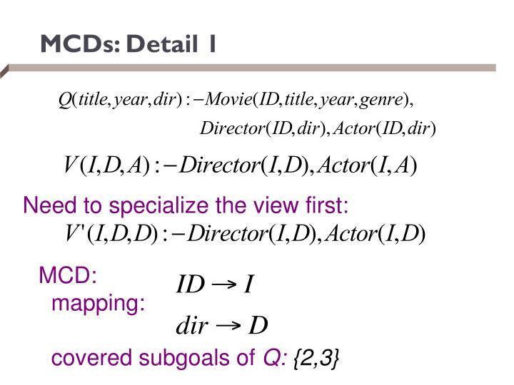 MCDs: Detail 1