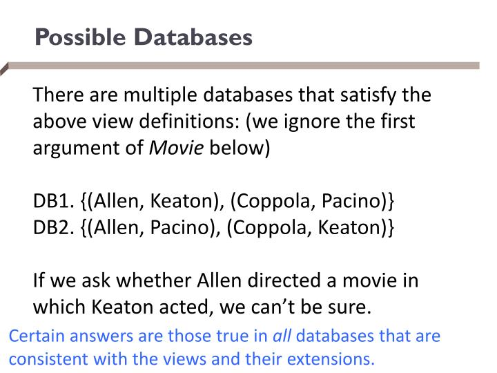 Possible Databases