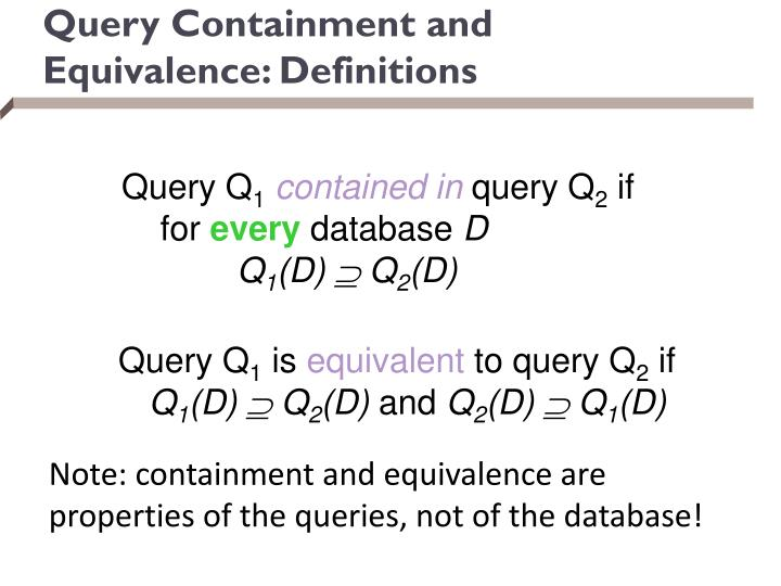Query Containment and