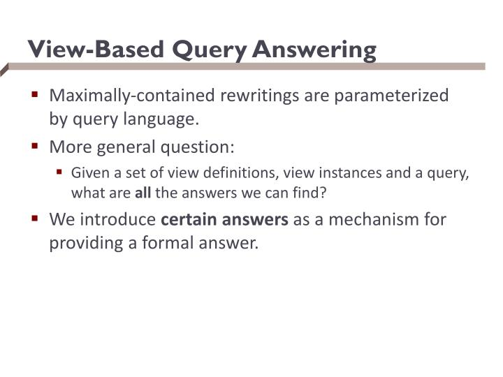 View-Based Query Answering