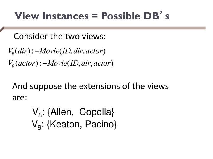 View Instances = Possible DB