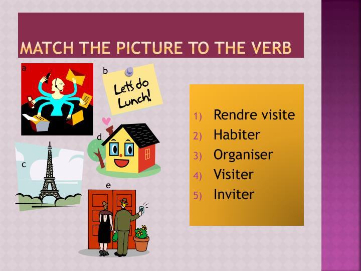 Match the picture to the verb