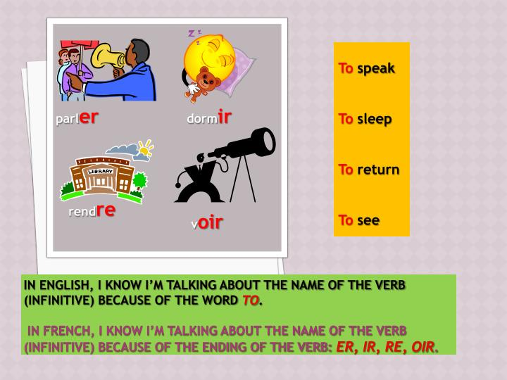 In English, I know I'm talking about the name of the verb (infinitive) because of the word