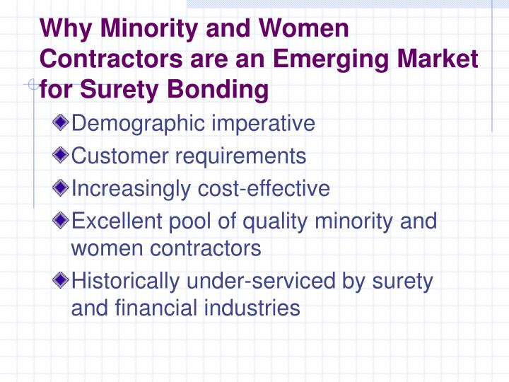 Why Minority and Women Contractors are an Emerging Market for Surety