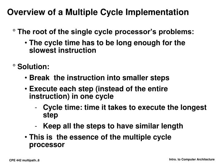 Overview of a Multiple Cycle Implementation