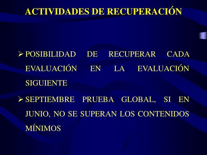 ACTIVIDADES DE RECUPERACIÓN