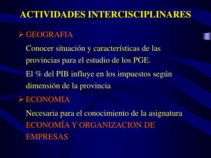 ACTIVIDADES INTERCISCIPLINARES