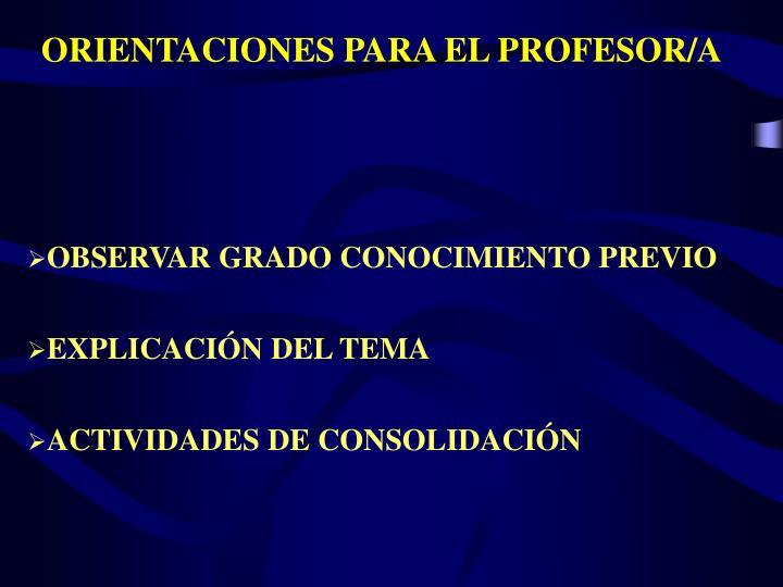 ORIENTACIONES PARA EL PROFESOR/A