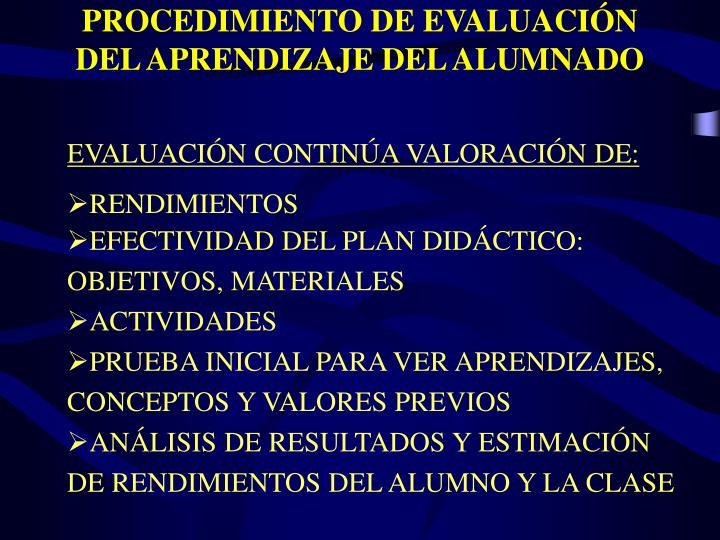 PROCEDIMIENTO DE EVALUACIÓN DEL APRENDIZAJE DEL ALUMNADO