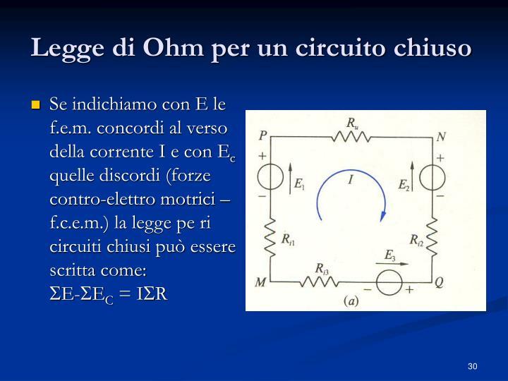 Legge di Ohm per un circuito chiuso