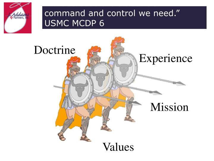 """ … decrease the amount of command and control we need.""  USMC MCDP 6"
