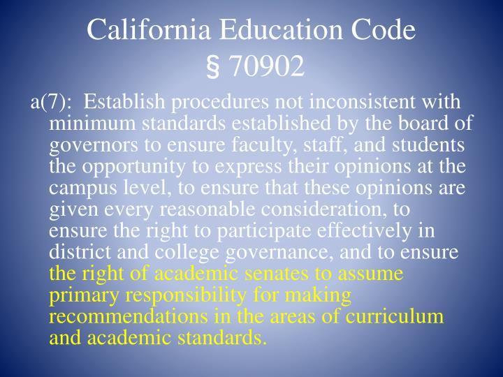 California Education Code §70902