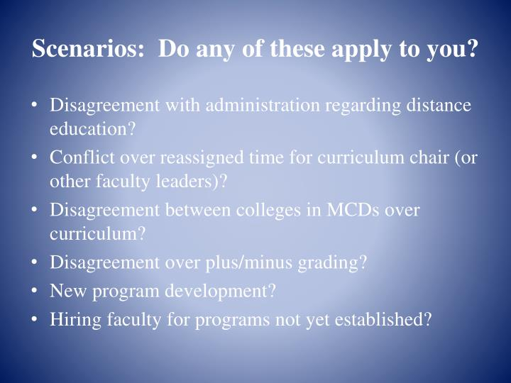 Scenarios:  Do any of these apply to you?