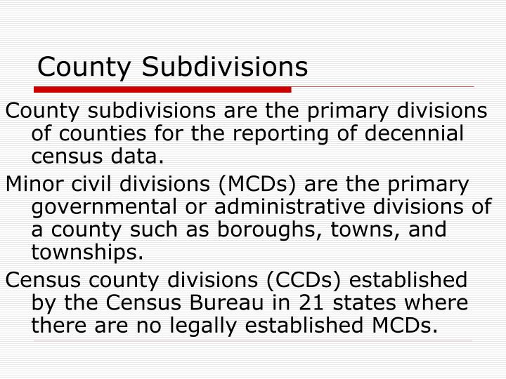 County Subdivisions