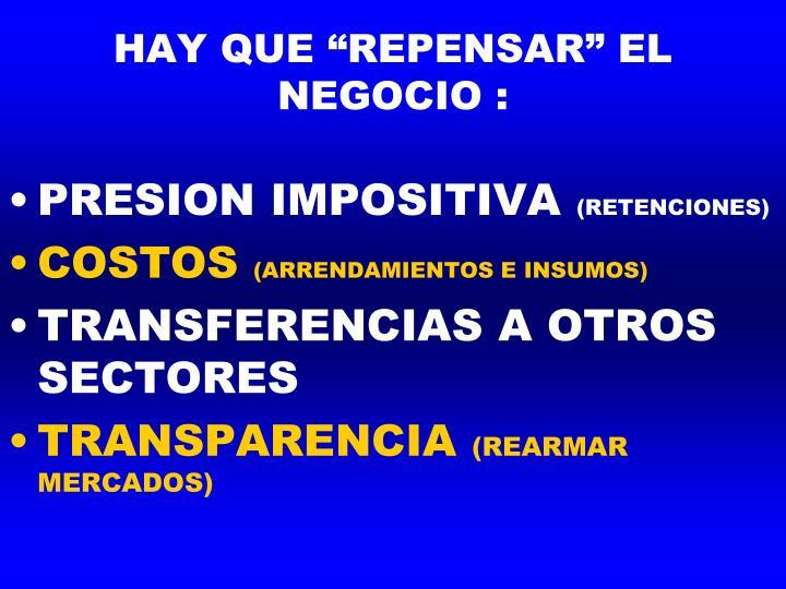 """HAY QUE """"REPENSAR"""" EL NEGOCIO :"""