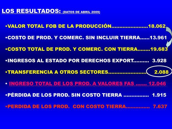 LOS RESULTADOS: