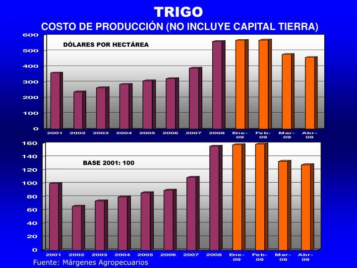 COSTO DE PRODUCCIÓN (NO INCLUYE CAPITAL TIERRA)