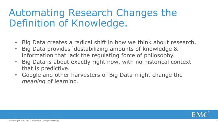 Automating Research Changes the Definition of Knowledge.