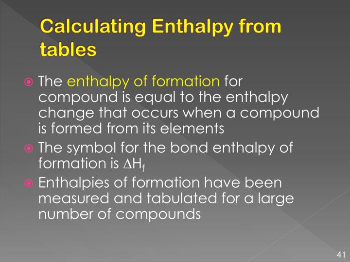 Calculating Enthalpy from tables