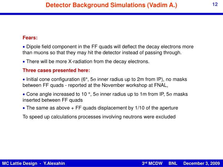 Detector Background Simulations (Vadim A.)