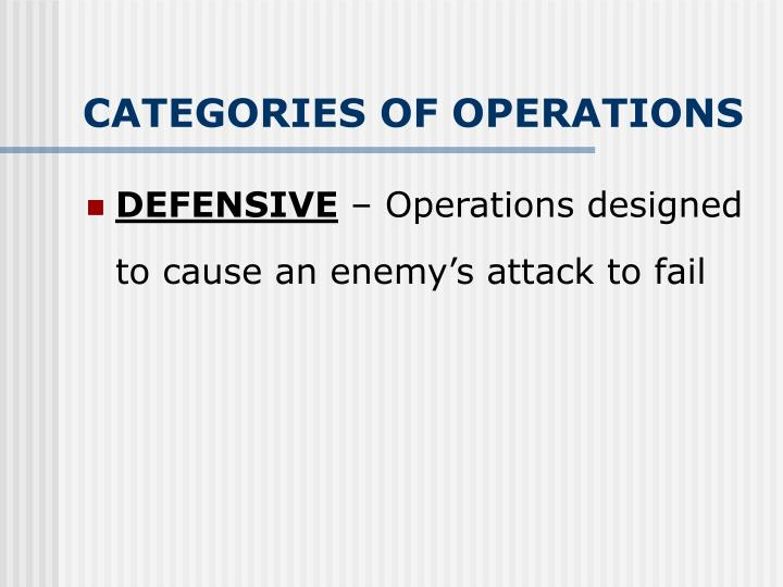 CATEGORIES OF OPERATIONS