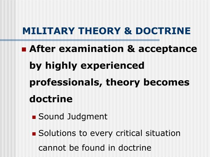 MILITARY THEORY & DOCTRINE