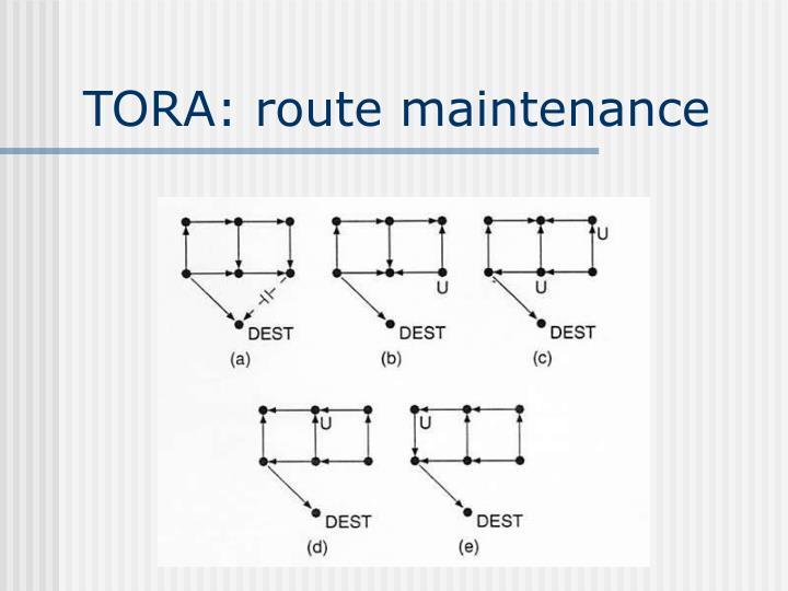 TORA: route maintenance